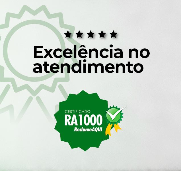 Arte gráfica para divulgação do selo RA1000, da plataforma ReclameAqui. A Madesa conquistou o selo por conta de suas boas práticas com o serviço de atendimento ao cliente.